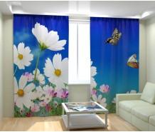 Фотошторы цветы и бабочки