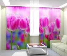 Фотошторы розовые тюльпаны
