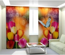 Фотошторы тюльпаны с бабочкой