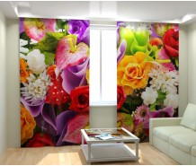 Фотошторы яркий букет цветов