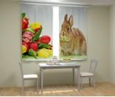 Фотошторы кролик с тюльпанами