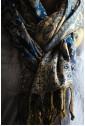 Двухсторонний палантин синий с золотым узором