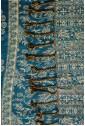 Палантин лазурно-синий с кремовым узором