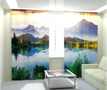 Фотошторы волшебное озеро в горах