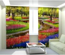 Фотошторы сад в цветах