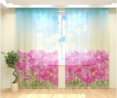 Фототюль нарисованные цветы
