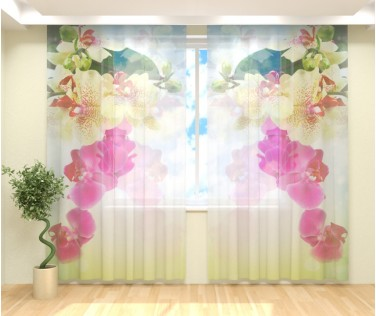 Фототюль веточка орхидеи