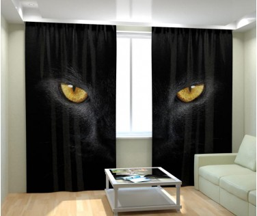 Фотошторы взгляд черной кошки