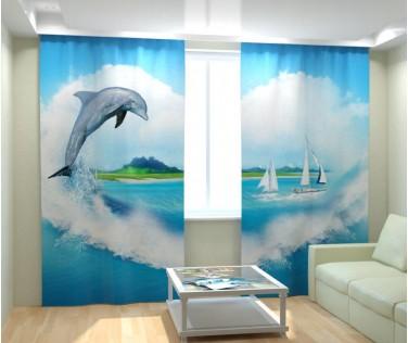 Фотошторы дельфин в море