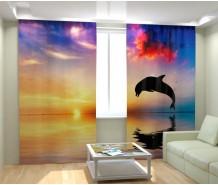 Фотошторы дельфин на закате